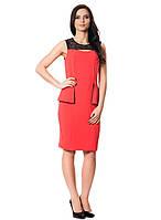 Яркое деловое платье с баской (в размерах S-2XL), фото 1