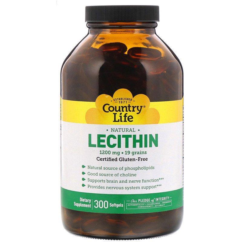 """Лецитин Country Life """"Lecithin"""" 1200 мг (300 капсул)"""