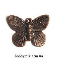 """Метал. подвеска """"бабочка"""" медь (1,8х1,5 см) 8 шт в уп."""
