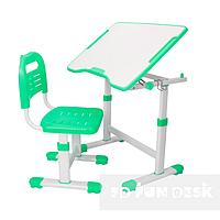 Комплект растущая парта 70х50 см и стул трансформеры для детей 3 - 15 лет ТМ FunDesk Sole ll Green зеленый