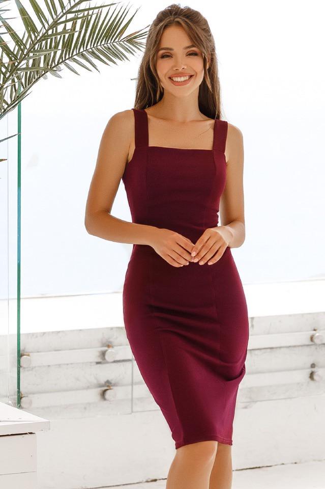 Платье женское короткое из дайвинга облегающее на широких брителях (К28244)