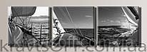 "Модульная картина на холсте из 3-х частей ""Яхта"" ( 54х166 см )"