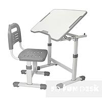 Комплект растущая парта 70х50 см и стул трансформеры для детей 3 - 15 лет ТМ FunDesk Sole ll  Grey серый