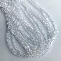 """Бусины стекло прозрачное белое """"рондель"""" d-3,5х2,5мм нитка L-40см"""