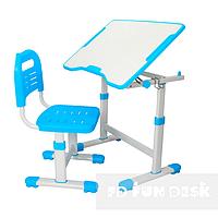 Комплект растущая парта 70х50 см и стул трансформеры для детей 3 - 15 лет ТМ FunDesk Sole ll Blue голубой