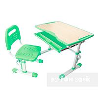 Комплект растущая парта 80х55 см и стул трансформеры для детей 3 - 15 лет ТМ FunDesk Vivo Green салатовый