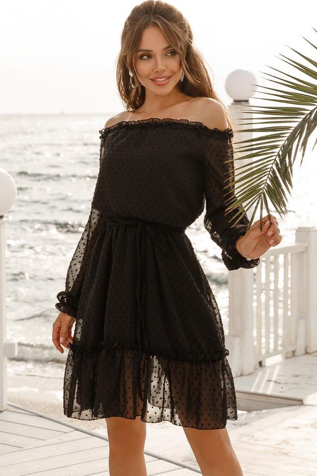 Платье женское короткое из креп-шифона в горошек под пояс (К28245)