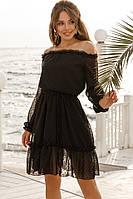 Платье женское короткое из креп-шифона в горошек под пояс (К28245), фото 1