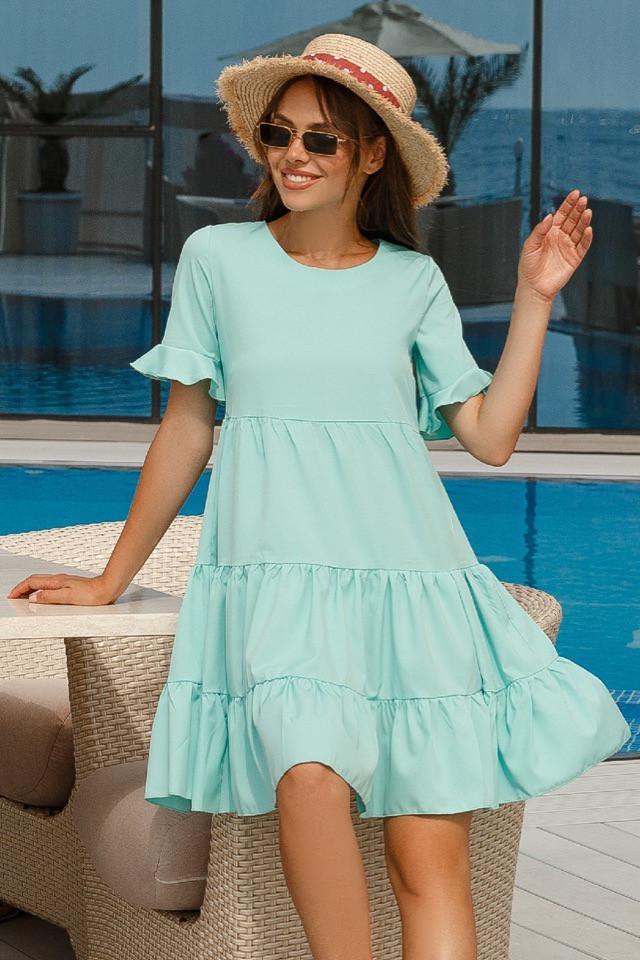 Платье женское короткое многоярусное с оборками на рукавах (К28247)