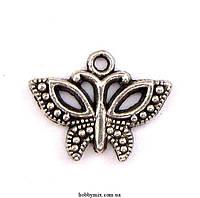 "Метал. подвеска ""бабочка""серебро  (1,6х1,6 см) 12 шт в уп"