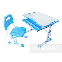 Комплект растущая парта 80х55 см и стул трансформеры для детей 3 - 15 лет ТМ FunDesk Vivo Grey Blue голубой