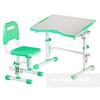 Комплект растущая парта 80х55 см и стул трансформеры для детей 3 - 15 лет ТМ FunDesk Vivo II Green салатовый
