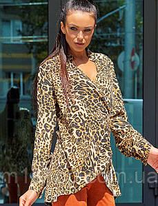 Женская леопардовая блузка с запахом(Кейлиjd)