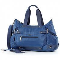 Cумка cпортивная на плечо дорожная багажная серая большая Dolly 938 три кармана снаружи 48см* 24см* 22см Синий