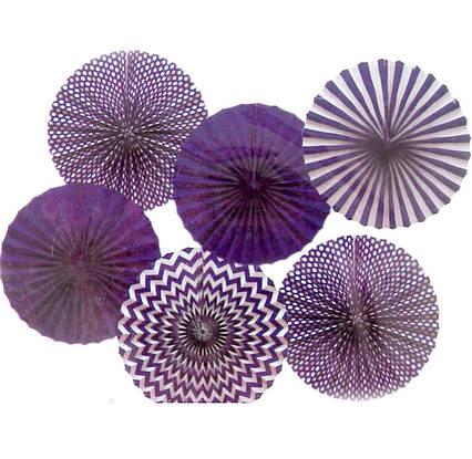 Набір фіолетових підвісних декоративних віял з паперу 6 шт .