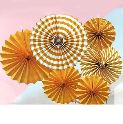 Набор подвесных декоративных вееров из плотной бумаги 6 шт Оранжевые