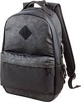 Рюкзак для мальчика в школу Winner One 230-0 черно-серый с USB переходником 27х15х41см