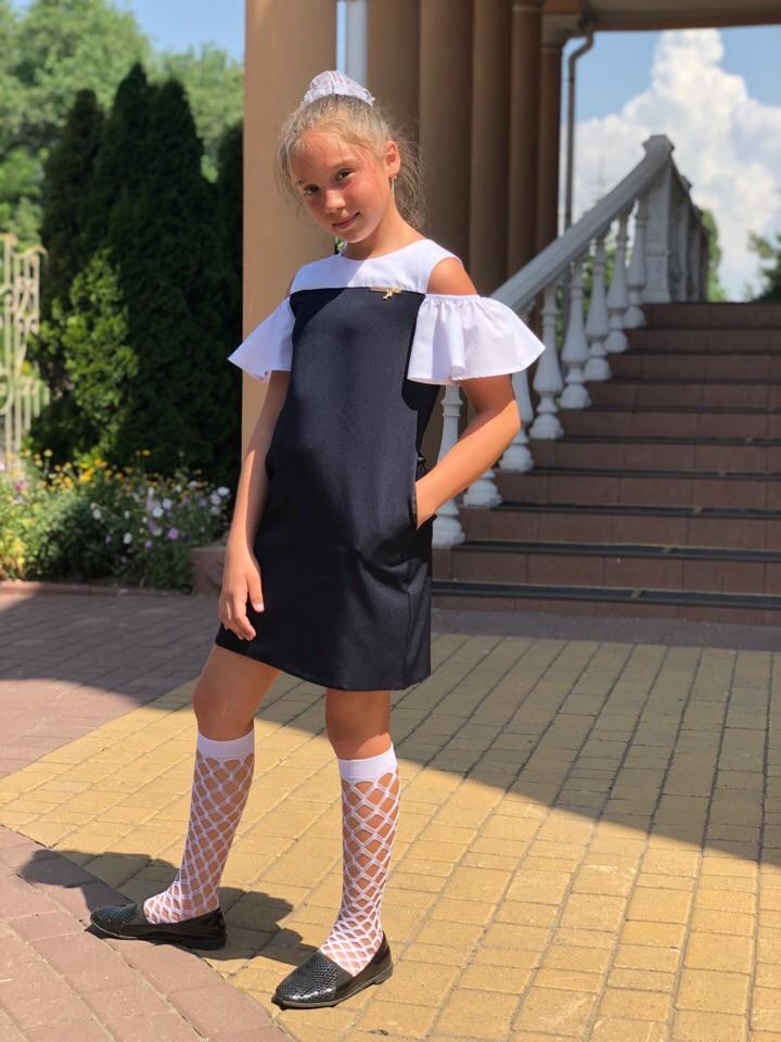 Платье-сарафан для девочек прямого кроя с волановыми рукавами (К28249)