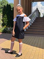 Платье-сарафан для девочек прямого кроя с волановыми рукавами (К28249), фото 1
