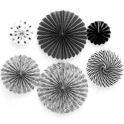 Набір підвісних декоративних віял із щільного паперу 6 шт Чорні