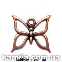 """Метал. подвеска """"бабочка"""" медь (1,9х1,8 см) 8 шт в уп"""