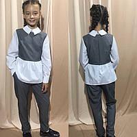 Костюм брючный для девочек с белыми рукавами и баской (К28250), фото 1