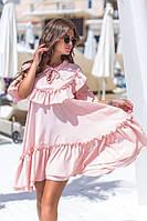 Платье женское короткое в стиле оверсайз с оборками и рюшами (К28252), фото 1