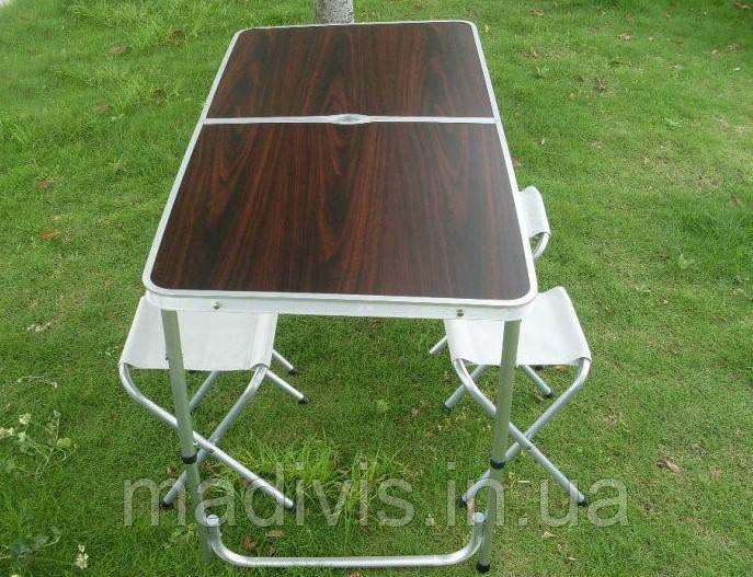 Стол алюминиевый раскладной для пикника + 4 стула, чемодан FT-2107