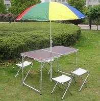 Стол алюминиевый раскладной для пикника + 4 стула, чемодан FT-2107+ зонт