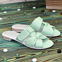 Шлепанцы женские кожаные на маленьком каблуке, цвет мята
