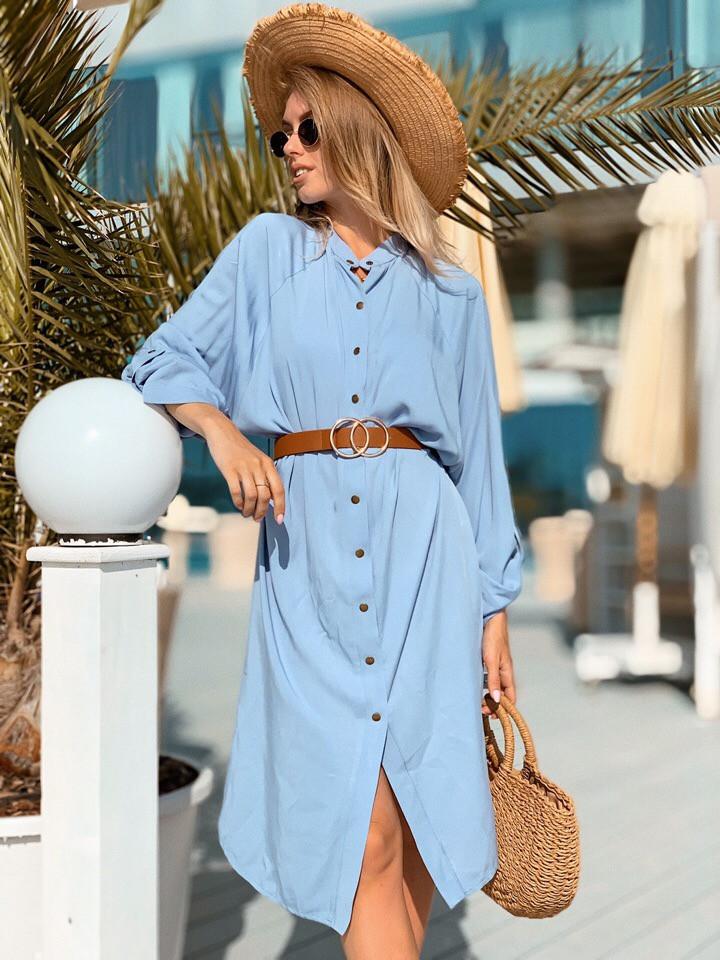 Платье-рубашка длинное из штапеля на кнопках с регулирующимся рукавом (К28258)