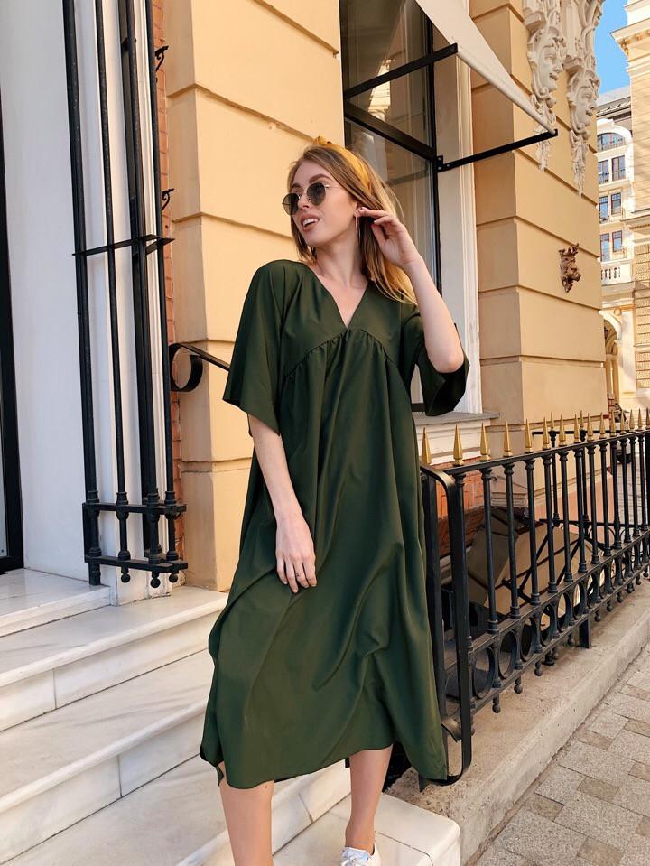 Платье женское длинное в стиле оверсайз с широкими рукавами (К28260)