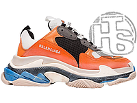 Женские кроссовки Balenciaga Triple S Orange Grey Black 541640W09OE7581