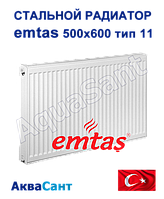 Сталевий радіатор Emtas 500/600 тип 11 бокове підключення