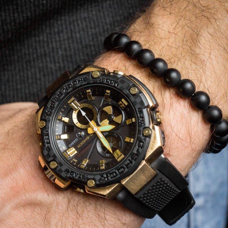 Мужские спортивные часы Casio GST-B100-1A GOLD копия