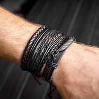 Браслет кожаный мужской mod.WingSet чёрный, фото 1