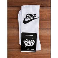 Высокие мужские носки с принтом FAKE, White