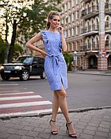 Платье-халат женский короткий облегающий на кнопках с вертикальными рюшами (К28265), фото 1