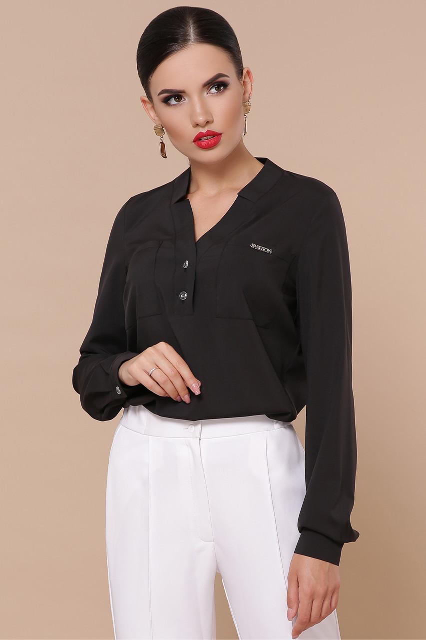 Женская офисная прямая блуза с V-образным  вырезом без пуговиц черного цвета Блуза Жанна д/р