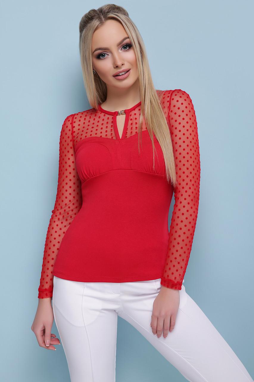 Яркая красная женская кофта с прозрачными рукавами из сетки Кофта Жаклин д/р