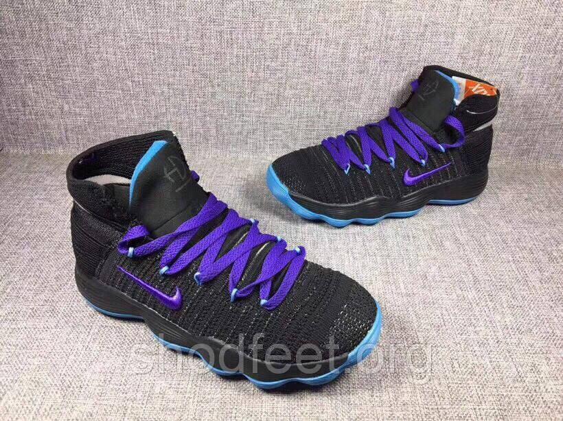 Подростковые баскетбольные кроссовки Nike Hyperdunk 2017 Flyknit Black Blue