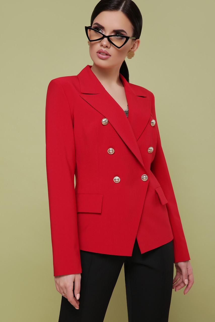 Деловой женский красный пиджак с золотистыми декоративными пуговицами Пиджак Остин
