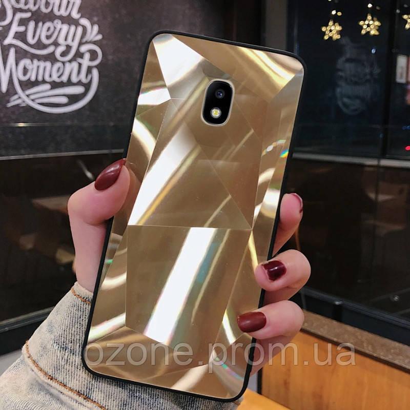 3D Зеркальный Чехол/Бампер для Samsung Galaxy J3 2017 / J330, Золотой