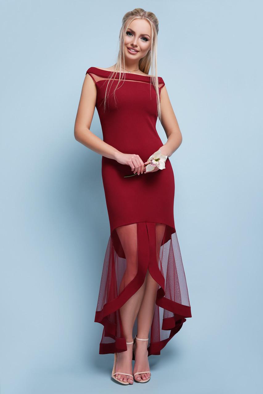 Длинное бордовое женское вечернее платье в пол с ассиметричной юбкой из сетки Платье Ингрид б/р