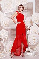 Длинное красное женское вечернее платье в пол с ассиметричной юбкой из сетки Платье Ингрид б/р