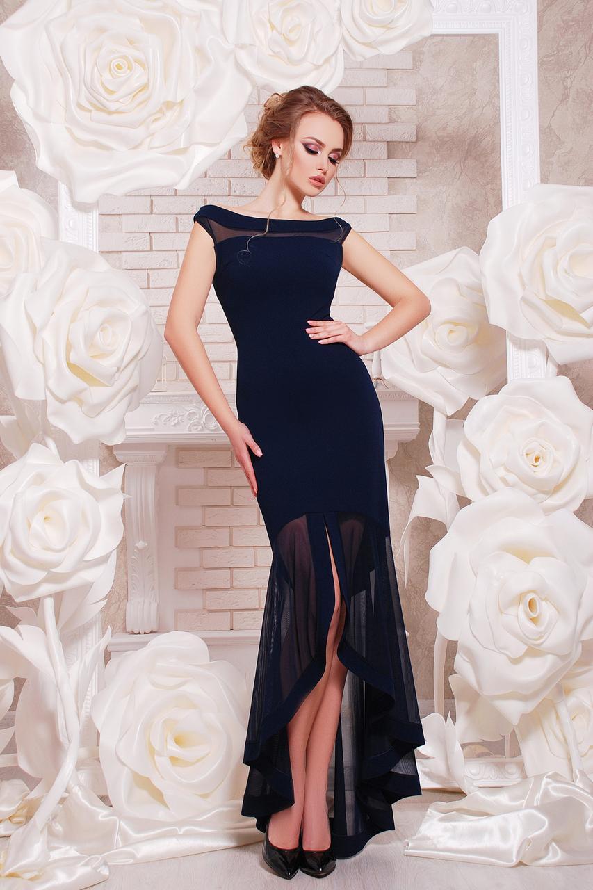 Длинное синее женское вечернее платье в пол с ассиметричной юбкой из сетки Платье Ингрид б/р