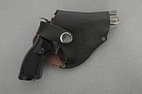 Зажигалка пистолет (револьвер) в кожаном чехле