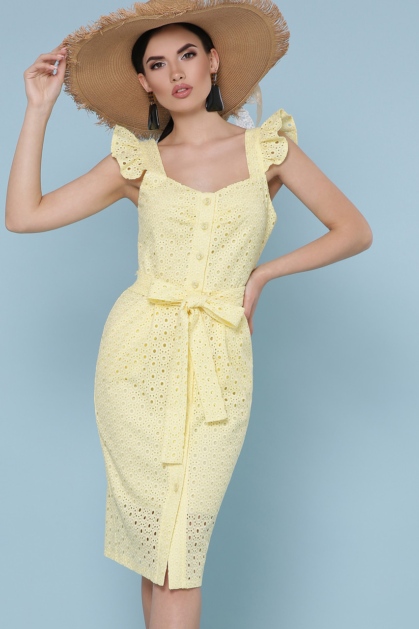 Желтый женский приталенный нарядный сарафан до колен Сарафан Люция