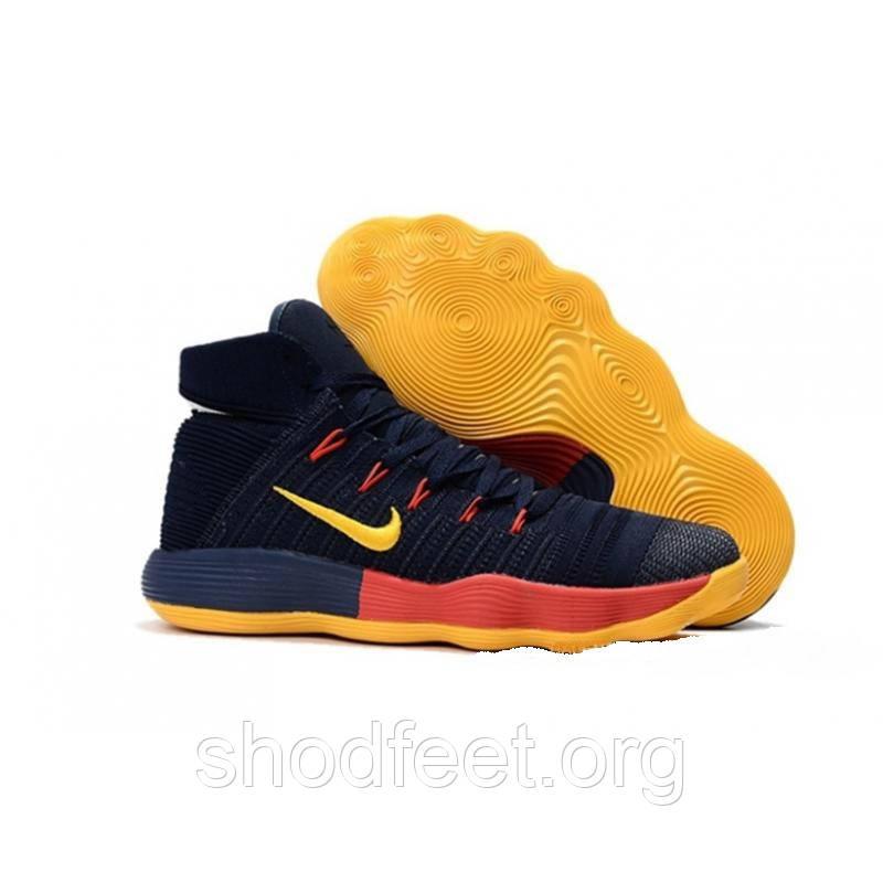 Подростковые баскетбольные кроссовки Nike Hyperdunk 2017 Flyknit Navy Red Yellow