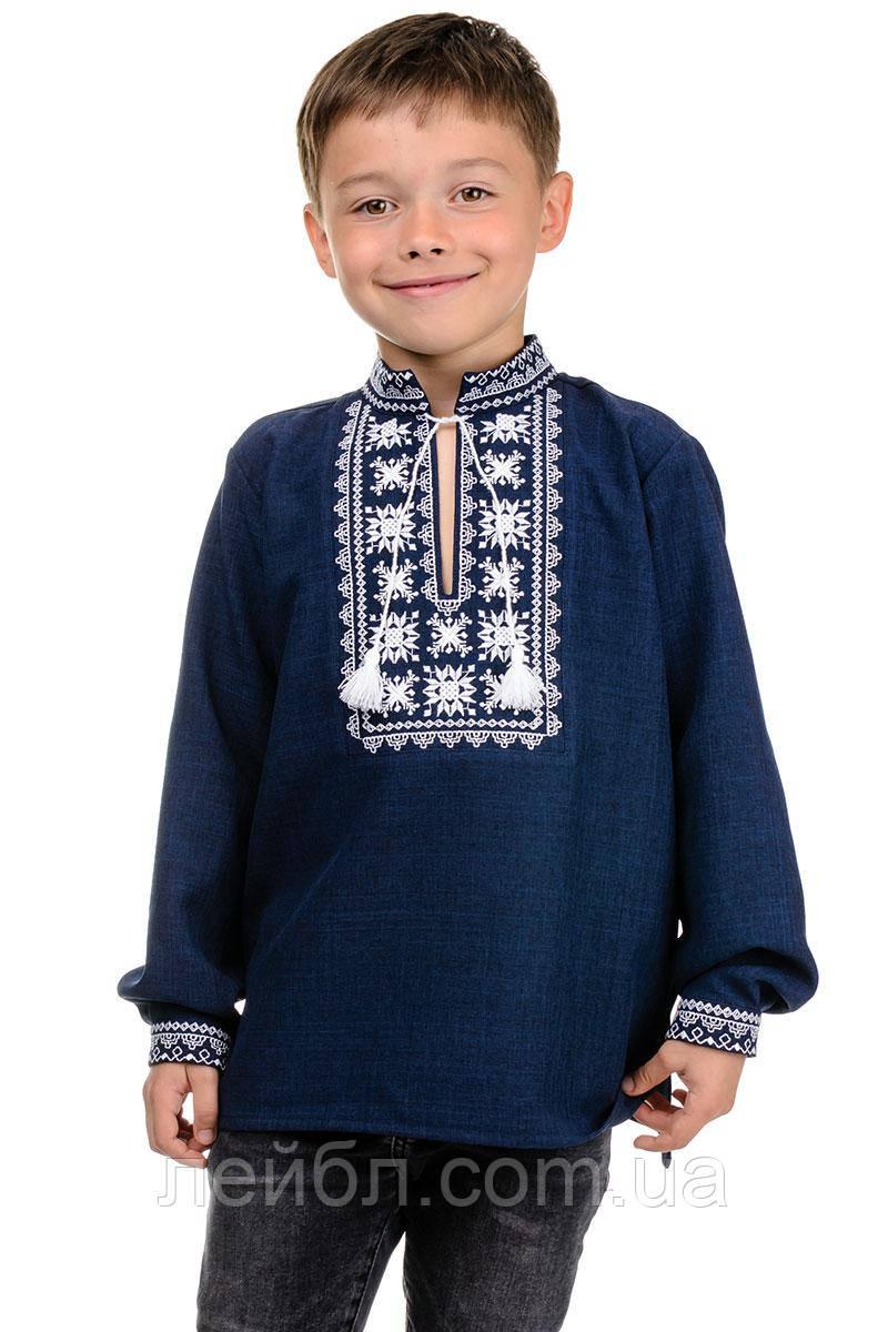 Детская сорочка-вышиванка Орнамент - темно-синий